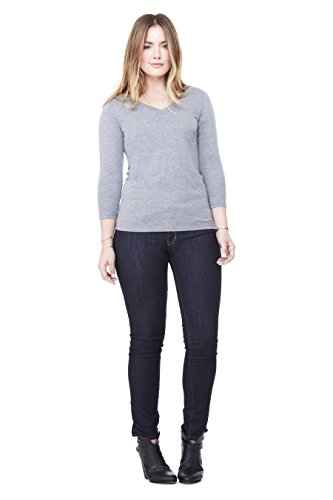 (Bella Canvas Missy Jersey 3/4-Sleeve V-Neck T-Shirt - GREY TRIBLEND - M)