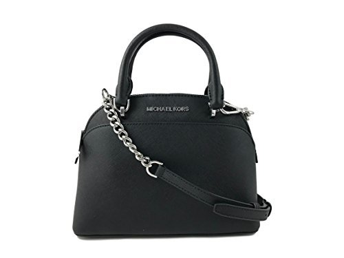 Michael Kors Emmy Small Dome Satchel in Saffiano Leather (Black with Silver Hardware)