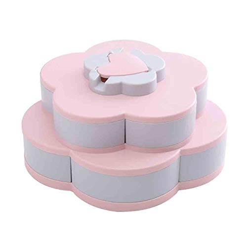 BCDshop Layer Rotating Snack Box Containers Bloom Flower Design Candy Nut Fruit Food Storage Box Jewelry Organizer Tray with Phone Holder (Pink)]()
