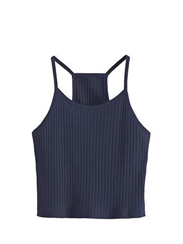 Navy Crop - SheIn Women's Summer Basic Sexy Strappy Sleeveless Racerback Crop Top X-Large Navy