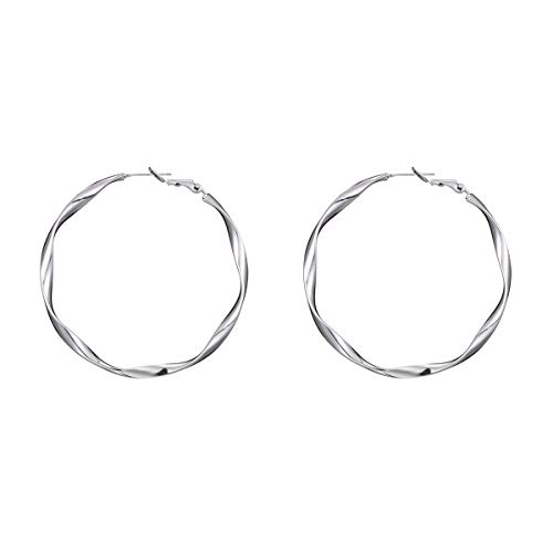 1 Pairs Big Hoop Earrings, Copper material Hypoallergenic Hoop Earrings in Gold Plated Rose Gold Plated Silver for Women Girls (White4)
