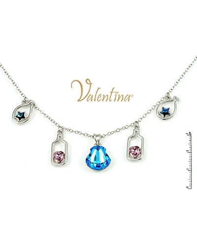 - Valentina White Gold Plated Swarovski Shell Chrystals & Stars Danglers Necklace