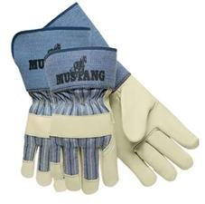 Memphis MPG1936L Mustang Premium Grain-Leather Gloves 4-1/2'' in Gauntlet Cuff Large 12 Pairs, Blue Striped / White