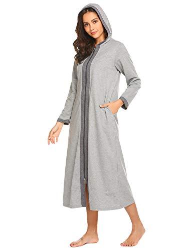 Ekouaer Women Loungewear, Zipper Nightgown Caftans Pajamas Robe with Pockets (Grey, Medium)