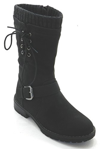 Heel New Combat Military Black DEV Flat Fashion Mid Boots Knee Boots Womens Low Tvqdxdwg