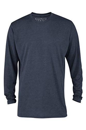 TNT Men's Long Sleeve Casual Tri-Blend Tee Shirt (Navy Heather) (X-Large) Blend Long Sleeve Tee
