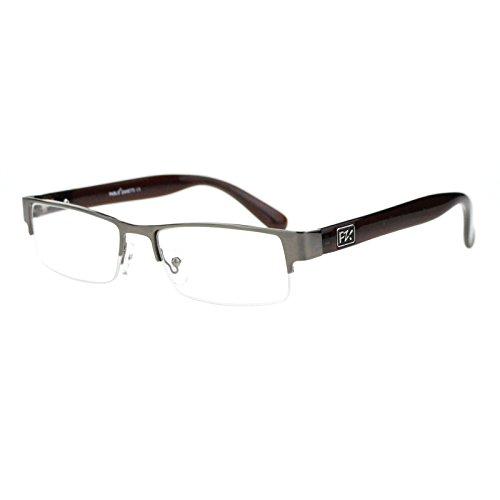 Designer Luxury Half Rim Metal Frame Rectangular Reading Glasses Gunmetal - Glasses Luxury Reading