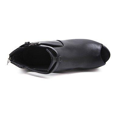 Negro 10 Vestido Casual Robusto amp;xuezi Semicuero 12 Black Tobillo Cms Otoño Gll Mujer Botas El Tacón Hebilla Hasta pxn8Owgz