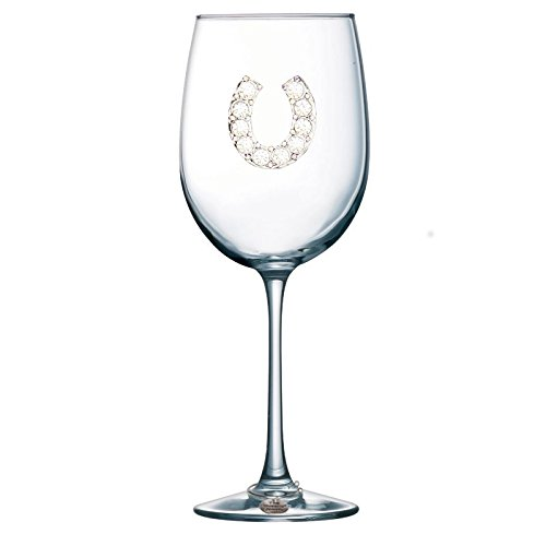 Horseshoe Jeweled Stemmed Wine Glass - Unique Gift for Women, Birthday, Cute, Fun, Western