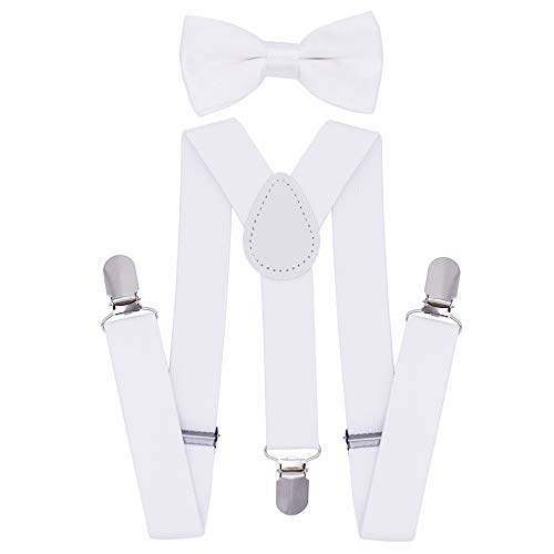Cinny Suspender Set with Bow Tie for Kids (White)