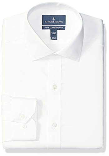BUTTONED DOWN Men's Tailored Fit Spread-Collar Micro Twill Non-Iron Dress Shirt, White, 16.5