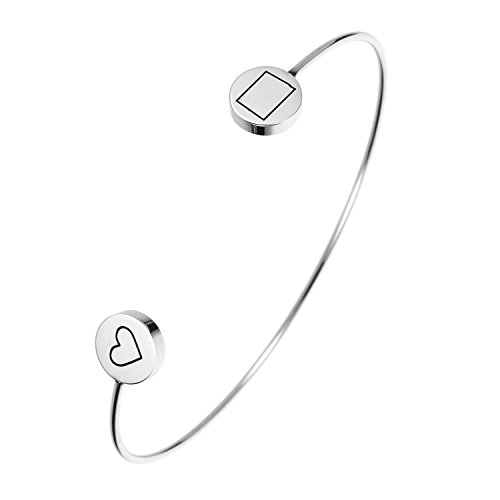 (State Bangle Bracelet Colorado CO - Open Wire Cuff Stainless Steel)
