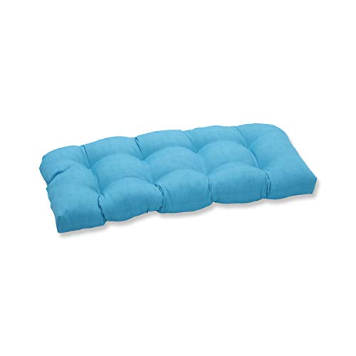 Pillow Perfect Outdoor Veranda Turquoise Wicker Loveseat Cus