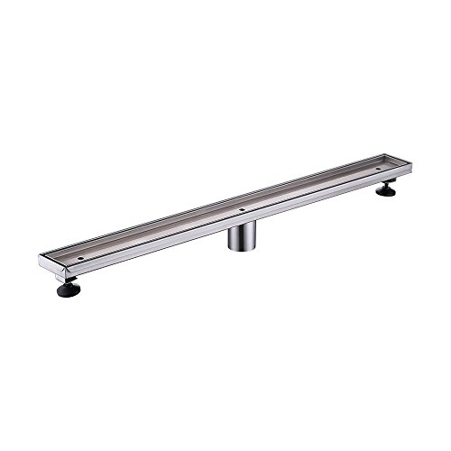 KES Linear Shower Drain with Removable Tile Insert Cover SUS 304 Stainless Steel Long Bathroom Floor Drainer 32-Inch RUSTPROOF Brushed Finish, V257S80-2