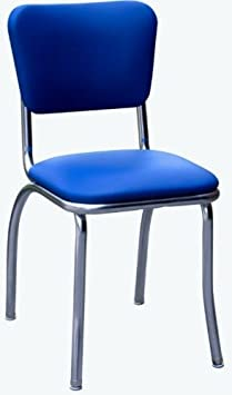 Richardson Seating 4110RBL Retro Chrome Kitchen Chair with Pulled Seat, Royal Blue, 1