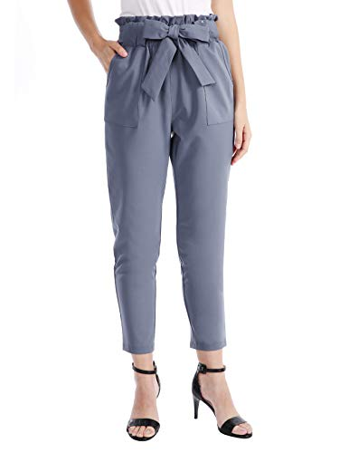 CHICIRIS Tapered Pencil Ankle Pants with Bow Tie for Women Blue Purple Size L