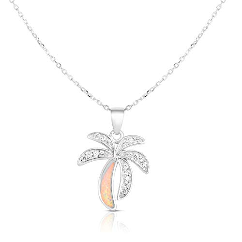(Unique Royal Jewelry 925 Sterling Silver Created Opal and Cubic Zirconia Palm Tree Pendant and Necklace Adjustable to Length of 16