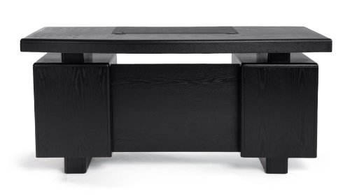 Monroe Black Wood Modern Desk with Leather Pad and Storage by Zuri Furniture