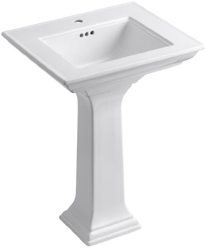 - KOHLER K-2344-1-0 Memoirs Pedestal Bathroom Sink with Stately Design and Single-Hole Faucet Drilling, White