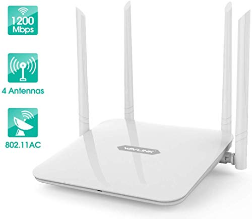 WiFi Router WAVLINK High Power Wireless Wi-Fi Router AC1200 Dual Band(5GHz+2.4Gz) Gigabit Wireless Internet Router,Long Range Coverage by 4 High-Performance Antennas
