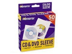 MEMOREX : Sleeves CD/DVD White 50pk with Window and FlapWindow and Flap -:- Sold as 2 Packs of - 1 - / - Total of 2 Each
