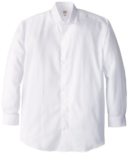 Cutter & Buck Men's Big-Tall Epic Easy Care Mini Herringbone Shirt, White, 3XT (Tall Cutter)