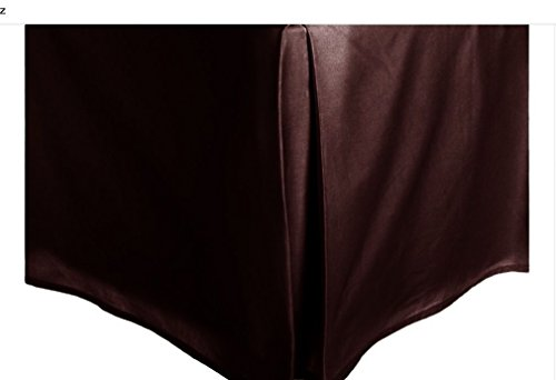 LINEN Brown Solid Faux Silk Bed Skirt Queen Size Dust Ruffle Bedding 14