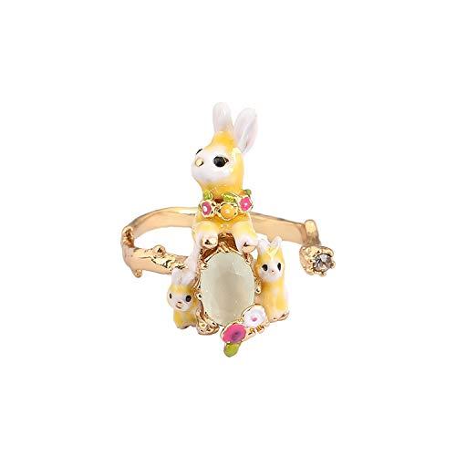 Fashion wonderland Original Vivid Rabbit Ring Animal Jewelry Enamel Glaze Ring,Resizable,Cyan,Light Yellow Gold Color (Ring Wonderland Enamel Blue)