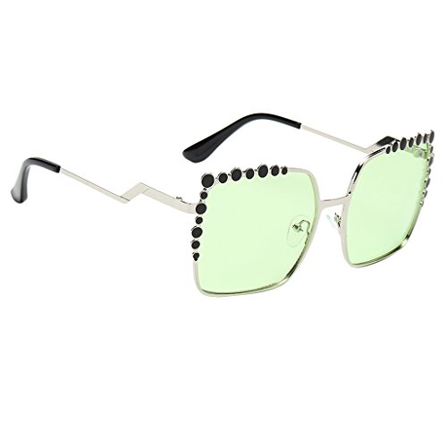 Vintaje Marco Sharplace Gafas de Protección UV400 NON Mujer claro Moda Grande Espejada Sol claro Rosa Ojo Verde Regalo Lente de para Estilo Gato p6wwzdxq