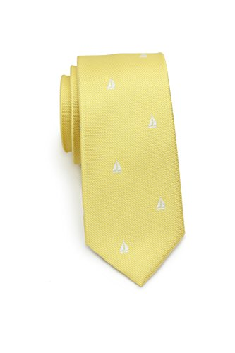 Bows-N-Ties Men's Necktie Nautical Skinny Silk Satin Tie 2.35 Inches (Sailboats in Lemon Yellow)
