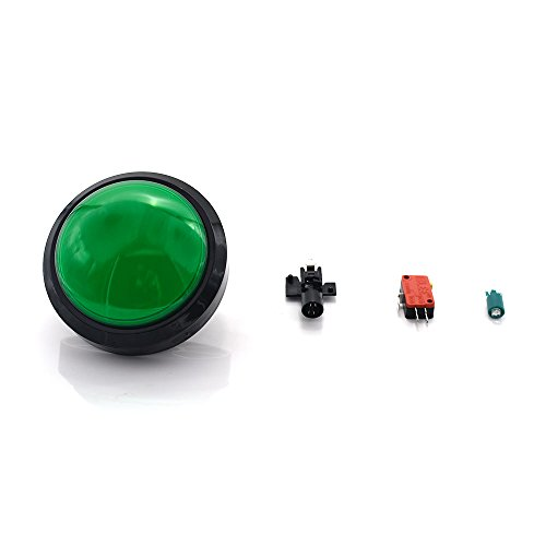 WINIT 60mm Dome 12V LED Illuminated Big Push Button with Microswitch for Arcade Video Games Machine Convex ()