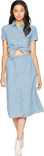 Juicy Couture Women's Banana Print Chambray Midi Shirtdress Mojave Wash Medium by Juicy Couture