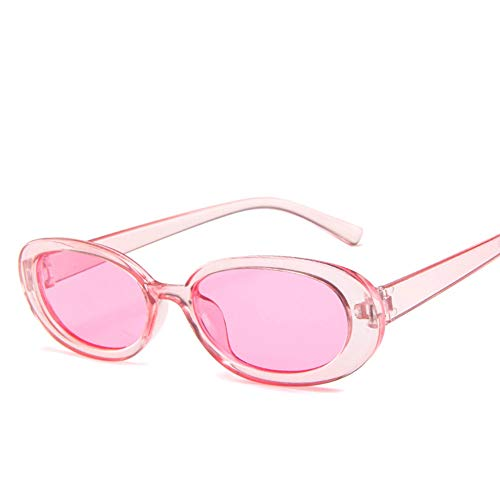 Leoie Fashion Small Oval Frame Sunglasses for Outdoor Driving Street Snap Transparent Pink Frame Film 5192-19-30