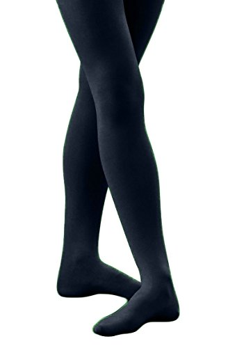 Butterfly Hosiery Junior Girls' Solid Colored Dance Ballet Custume Seamless Opaque Footed Tights Stocking Navy (Butterfly Girls Tights)