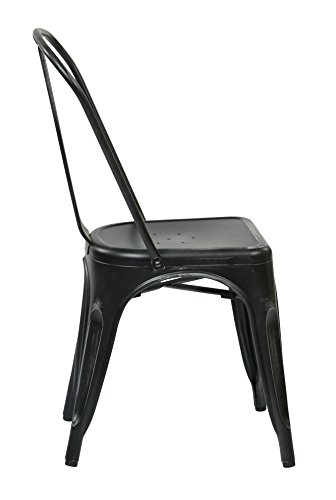 Office Star Bristow Metal Seat and Back Armless Chair, Antique Black, 4-Pack