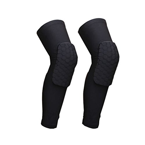 Luwint Youth Knee Pad Basketball - Long Honeycomb Knee Compression Sleeve - High Elastic Anti Slip Breathable, Black (1 (Nba Dancers Halloween)