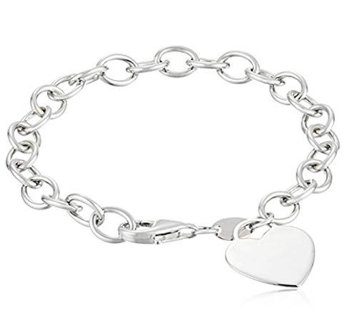 Sterling Silver Heart Pendant Bracelet 7 inch
