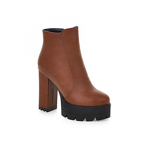 Boots Chunky Oily Ladies Zipper Platform AdeeSu Brown Leather Heels q65c0
