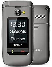 TELME X200_001_SG X200 Flip-telefon med Stor Knapp, Svart