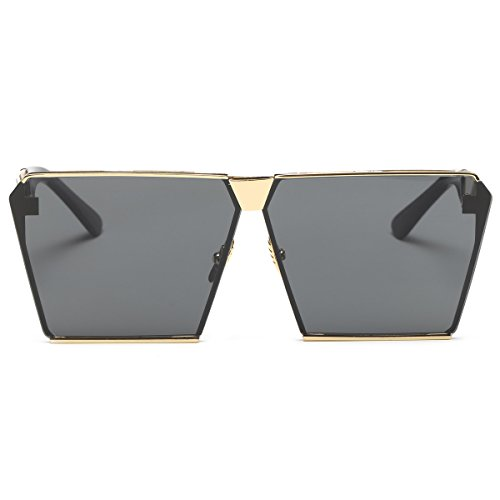 LKEYE - Unique Oversize Shield Vintage Square Sunglasses LK1705 Gold Frame/Gray Lens (No Prescription Color Contacts)