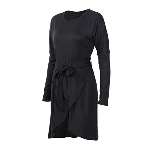 Sexy Solid Full Sleeve Party Dress with Sashes Keen-Length O-Neck Women Dress,Black,S