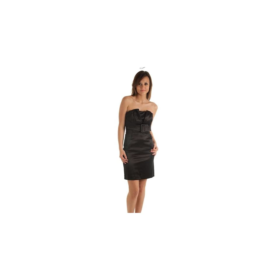 DHStyles Women's Strapless Mock Bust Cocktail Dress with Belt   Large   Black Semi Formal Dresses