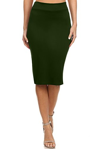 Olive Pencil Skirts for Women Olive Green for Women Reg and Plus Size (Size XX-Large, Dark Olive)