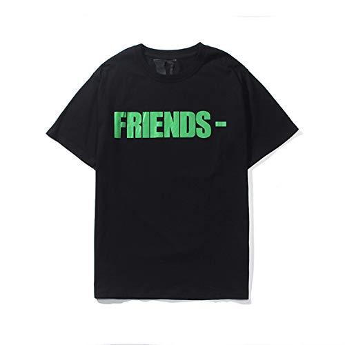 Otto Dobbin Men T-Shirt Big V Print Cotton Hip-Hop Summer Tee (Medium, Black&Green)