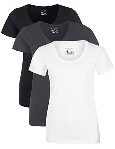 Berydale Damen T-Shirt Mit Rundhalsausschnitt, 3er Pack,