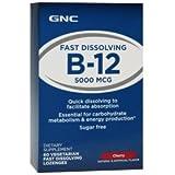 GNC B-12 5000- Cherry 60 Vegetarian Fast Dissolving Lozenges