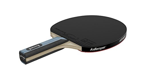Killerspin Kido 5A RTG Ping Pong Paddle - Professional Table Tennis Racket| 5-Ply Wood Blade, Nitrx 4Z Competition Quality Rubbers| Straight Handle Ping Pong Paddle, ITTF Tournament Approved| Black/Red