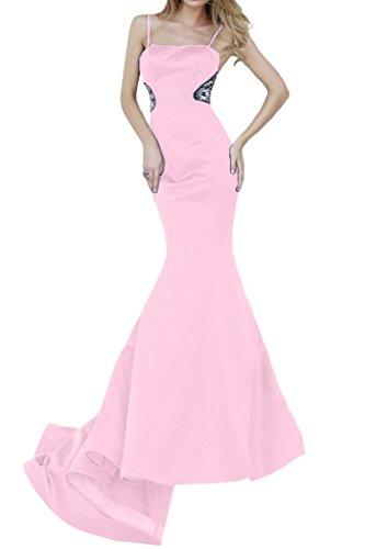 ivyd ressing Mujer para espaguetis Mermaid largo satén fijo Ropa Prom vestido para vestido de noche Rosa