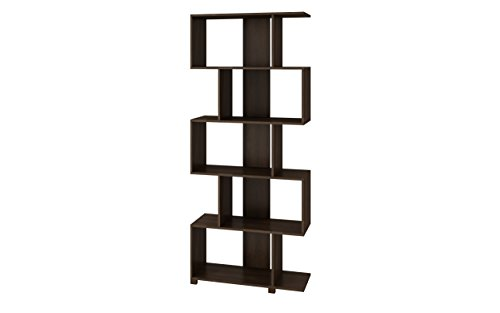 Manhattan Comfort Petrolina Collection Modern Decorative Free Standing Open Z-Shelf Style Bookcase, Tobacco - Modern Bookcase