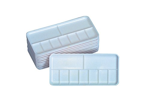 Jack Richeson Plastic 7 Well Palette Trays, 3-1/4 x 7-1/4 Inches, Pack of 12 ()